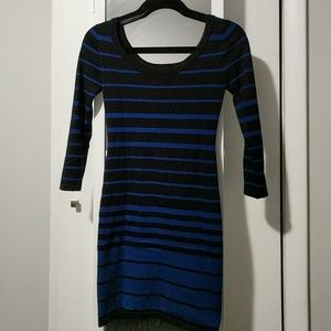 Black and blue striped knit dress